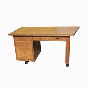 Vintage Scandinavian Oak Veneered Desk