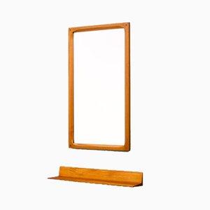 Espejo de pared danés de teca con consola, años 60