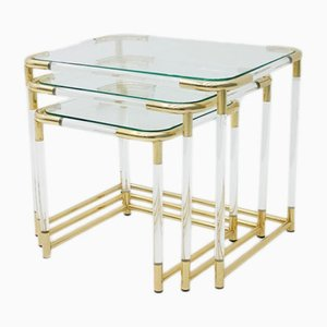 Brass, Lucite & Glass Nesting Tables, 1970s