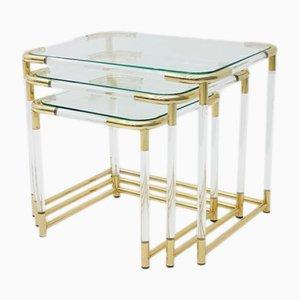 Tavolini ad incastro in ottone, lucite e vetro, anni '70