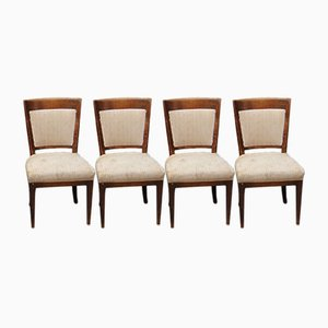Art Deco Cherry Wood Dining Chairs, Set of 4