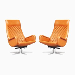 Cognac Leather DS51 Lounge Chairs from de Sede, 1970s, Set of 2