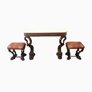 Antique Carved Walnut Console & 2 Stools, 1825