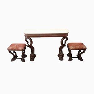 Consolle antica in legno di noce intagliato e 2 sgabelli, 1825