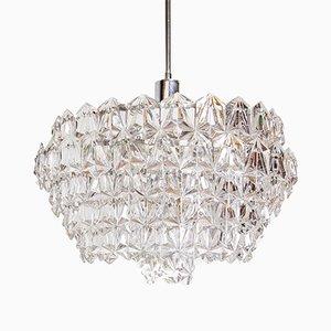 Lámpara de araña vintage de cristal con seis niveles, años 70
