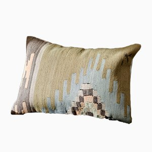 Pink, Green, Blue, & Brown Embroidered Wool Boho Lumbar Kilim Pillow by Zencef, 2012