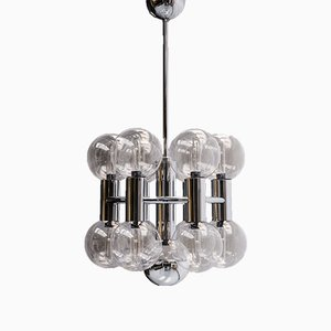 Chrome & Glass Ceiling Light by Motoko Ishii for Staff, 1970s