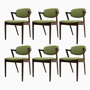 Chaises Modèle 42 par Kai Kristiansen pour Schou Andersen, 1960s, Set de 6