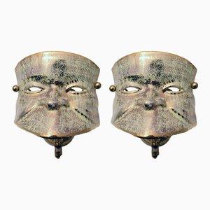 Apliques de pared venecianos con máscara de cerámica, años 50. Juego de 2