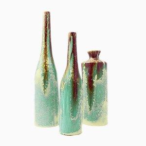 Jarrones italianos de cerámica esmaltada de Viba, años 60. Juego de 3