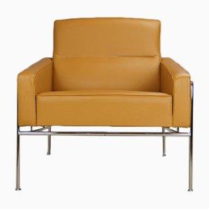 Vintage Caramel Brown & Tan Leather Model 3300 Armchair by Arne Jacobsen for Fritz Hansen, 2000