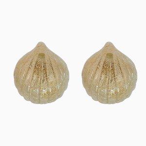 Lámparas de pared en forma de concha de cristal de Murano, años 70. Juego de 2