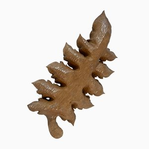 French Solid Wood Carved Leaf Tray, 1950s