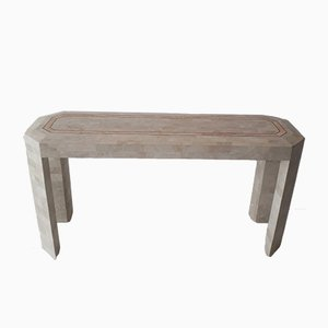 Vintage Tesselated Travertine & Brass Console Table