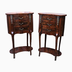 Antique French Walnut Marquetry Kidney Side Tables, Set of 2