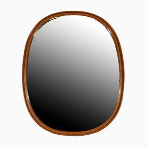 Specchio da parete in ottone e pelle, anni '50