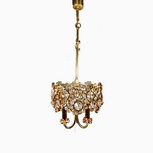 Lámpara colgante pequeña de latón dorado y cristal de Palwa, años 70