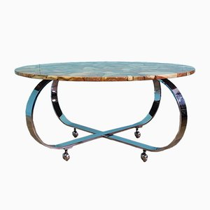 Scandinavian Stone & Chrome Coffee Table, 1970s