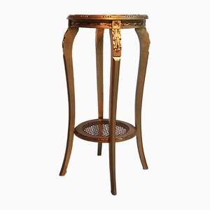 High Gold-Plated Wooden Side Table with Marble Top, 1950s