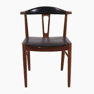 Dänischer Beistellstuhl aus Leder, 1960er