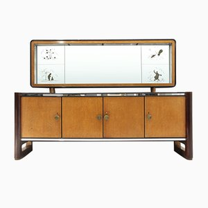 Mid-Century Italian Sideboard with Mirror from La Permanente Mobili Cantù, 1950s