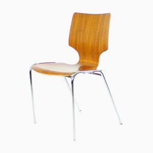 Sedie impilabili in legno e metallo cromato, 1982