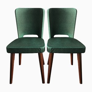 Vintage Green Skai Chairs, Set of 2