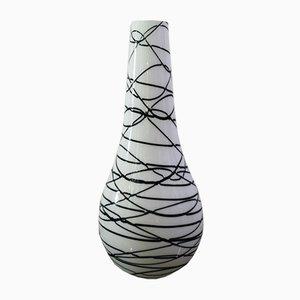 Große mundgeblasene Glasvase in Schwarz & Weiß, 1970er