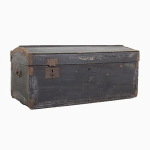 Vintage Black Wooden Trunk, 1940s