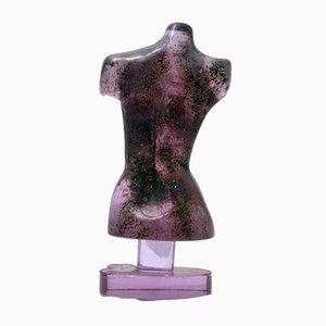 Escultura de busto Alessandrite de vidrio de Loredano Rosin, años 60