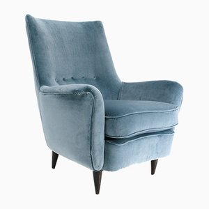 Mid-Century Italian Light Blue Velvet Armchair, 1950s