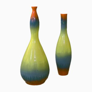 Matt & glänzend emaillierte Mid-Century Keramikvasen