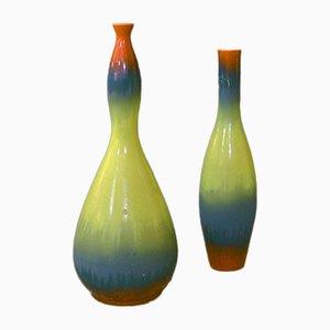 Mid-Century Matt & Shiny Enamel Ceramic Vases
