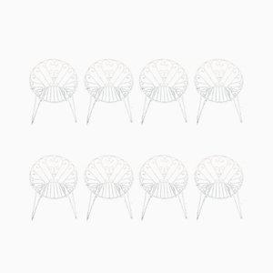 Sillas de jardín italianas Mid-Century de hierro en blanco, años 60. Juego de 8