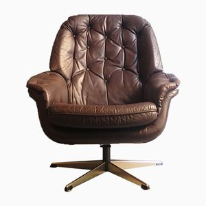 Brown Leather Swivel Lounge Chair with Chrome Star Base, 1970s