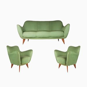 Green Fabric & Wood Perla Sofa & 2 Armchairs by Guglielmo Veronesi for ISA Bergamo, 1952