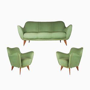 Perla Sofa und 2 Sessel aus grünem Stoff & Holz von Guglielmo Veronesi für ISA Bergamo, 1952