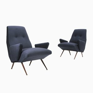 Blue Derby Armchairs by Letterio Mangano for Framar, 1950s, Set of 2