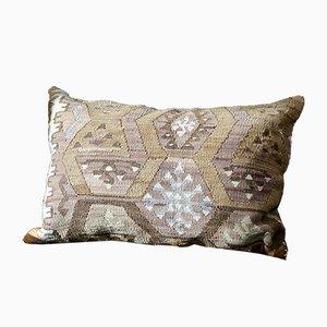 Pink, Rose, Blue, Yellow, & Brown Wool Boho Lumbar Kilim Pillow by Zencef, 2014