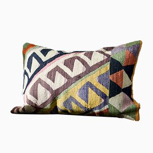 Pink, White, Blue, Yellow, & Brown Wool Boho Lumbar Kilim Pillow by Zencef, 2014