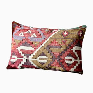 Pink, Green, Blue, & White Wool Boho Lumbar Kilim Pillow by Zencef, 2014