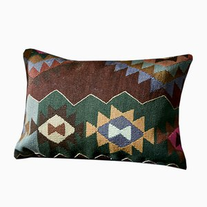 Brown, Green, Blue, & Yellow Wool Boho Lumbar Kilim Pillow by Zencef, 2015