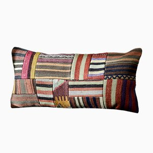 Black, Red, Brown, & White Patchwork Wool Lumbar Kilim Pillow by Zencef, 2013