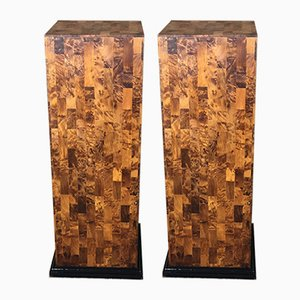 Art Deco Burr Walnut Marquetry Columns, Set of 2
