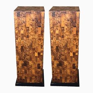 Columnas Art Déco de madera nudosa de nogal. Juego de 2