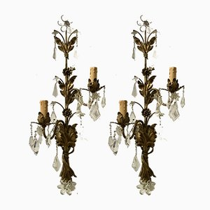 Large Vintage Florentine Gilded Murano Flower Sconces, Set of 2