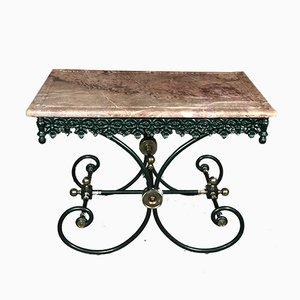 Tavolo da macellaio Mid-Century in marmo, ottone e ferro battuto