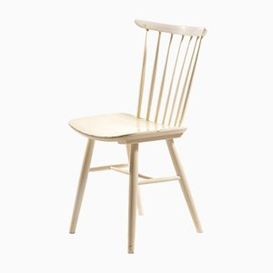 White Wooden Chair from TON, 1960s