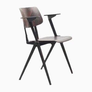 Stapelbarer ebonisierter S16 Armlehnstuhl mit schwarzem Gestell von Galvanitas, 1960er