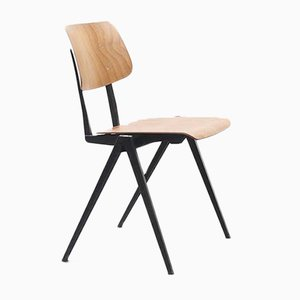 Stackable S16 Oak Chair with Black Base from Galvanitas, 1960s